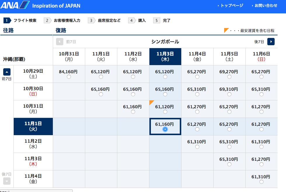 航空運賃比較画面