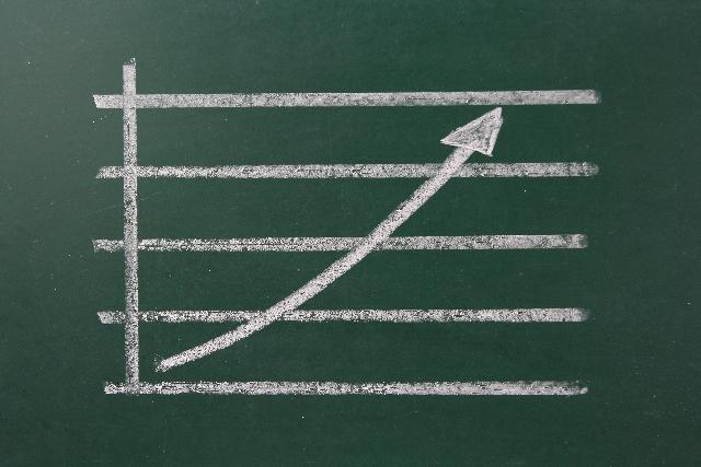 黒板に書かれた上昇チャート