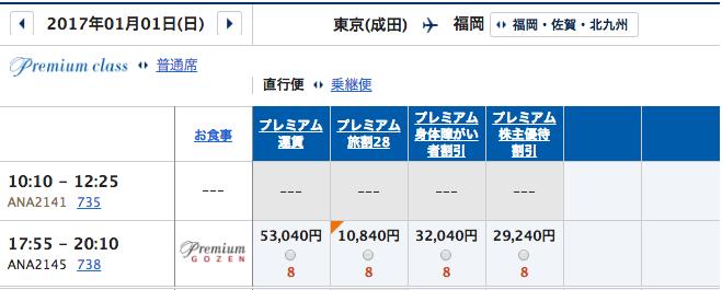 1月1日 成田ー福岡プレミアムクラス運賃