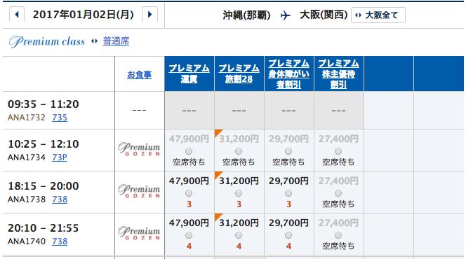 1月2日 沖縄ー関西プレミアムクラス運賃