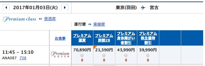1月3日ANA羽田ー宮古運賃
