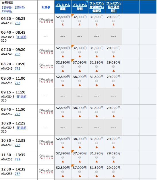 1月1日 羽田福岡プレミアムクラス運賃