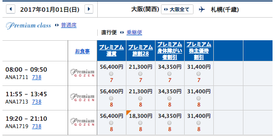 1月1日 関西ー札幌プレミアムクラス運賃