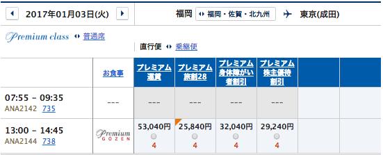 1月3日ANA福岡ー成田運賃
