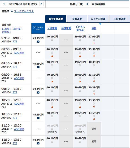 1月3日ANA札幌ー羽田エコノミークラス運賃