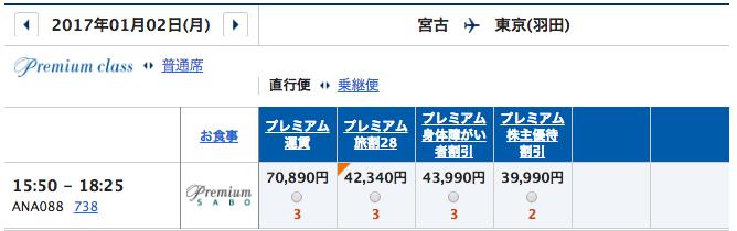 1月2日 宮古ー羽田プレミアムクラス運賃