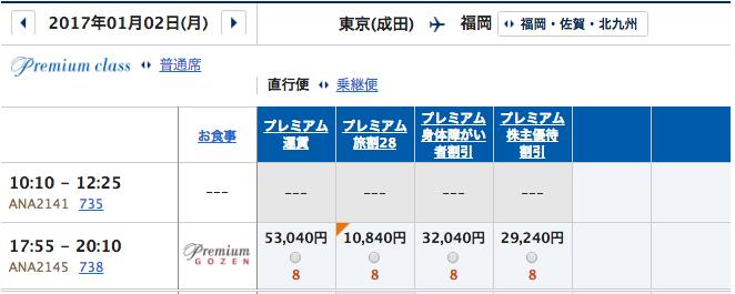 1月2日 成田ー福岡プレミアムクラス運賃