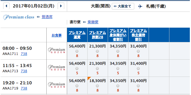1月2日 関西ー札幌プレミアムクラス運賃