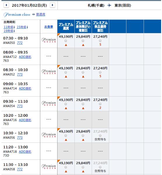 1月2日 札幌ー羽田プレミアムクラス運賃