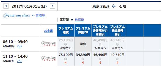 11月1日2ヶ月前の羽田石垣予約状況