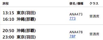ANA羽田沖縄フライトプラン