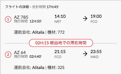 アリタリア航空東京ーマドリード便