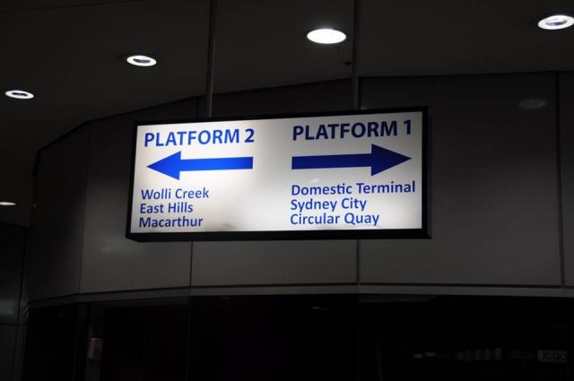 シドニー空港の電車乗り場