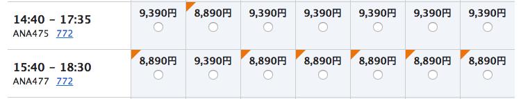 ANAエコノミークラス沖縄路線価格