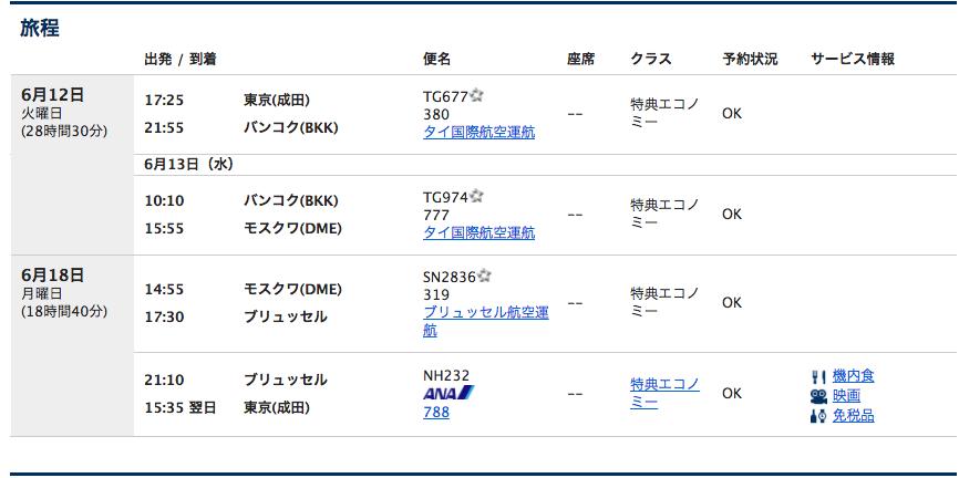 ANA東京ーモスクワ特典航空券
