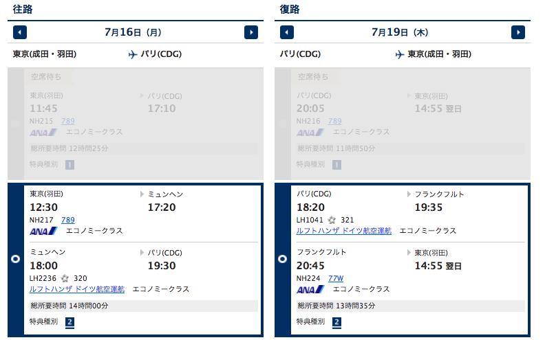 東京ーパリ往復特典航空券