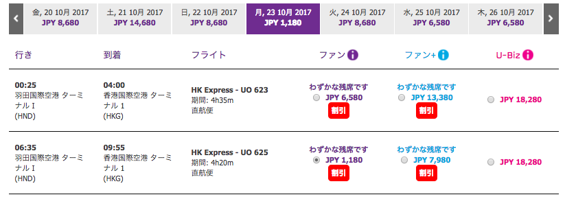 香港エクスプレス羽田便セール