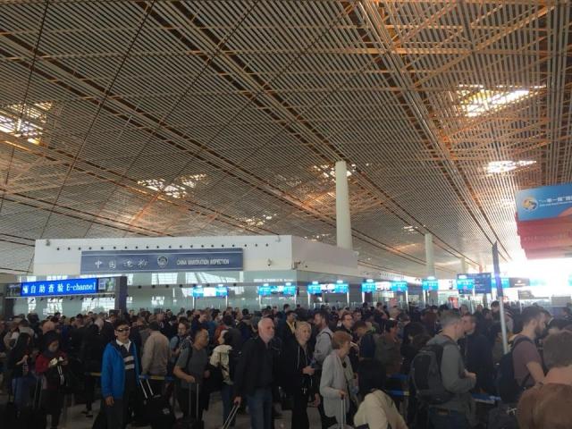 北京空港の入国審査場