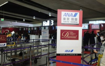 シャルルドゴール空港のANAチェックインカウンター