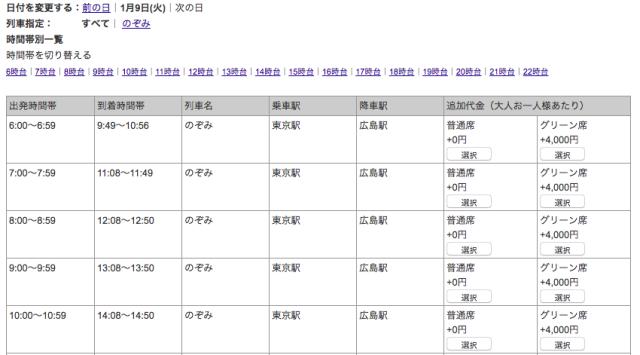 JTB新幹線選択画面