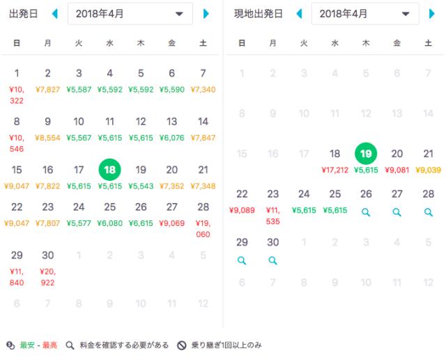 釜山航空券の最安日程