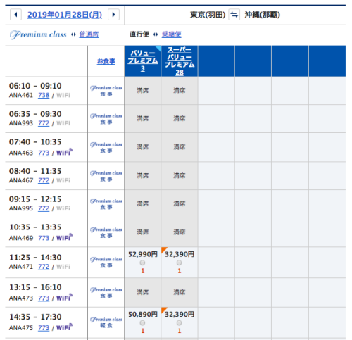 ANA羽田ー沖縄プレミアムクラス価格