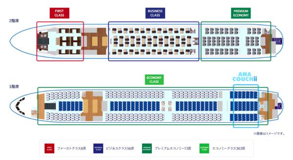 ANAa380の座席表