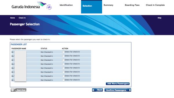ガルーダインドネシア航空の座席指定