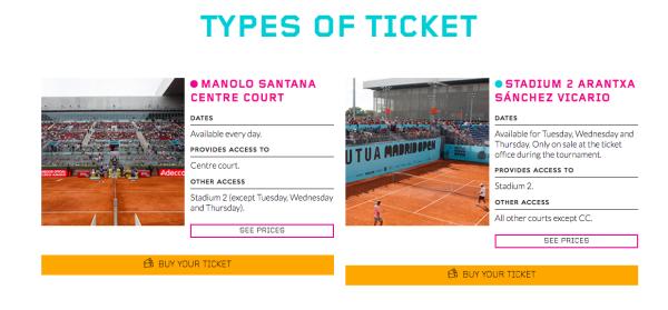 マドリードオープンチケット