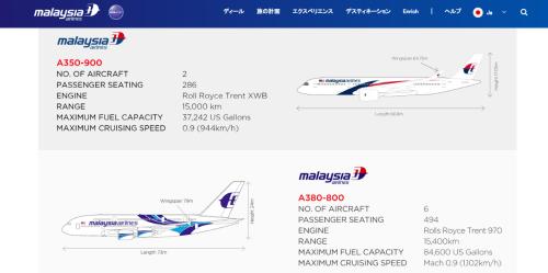 マレーシア航空保有機材