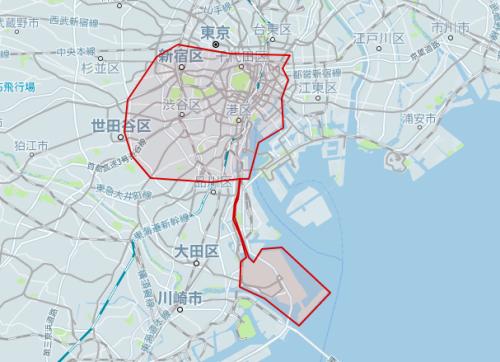 uber東京対応エリア