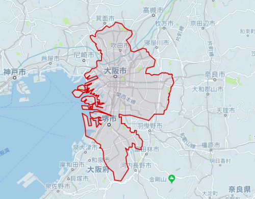 uber大阪対応エリア