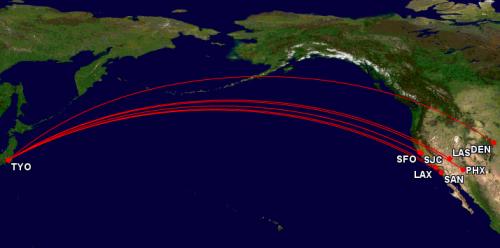 デルタ航空の路線