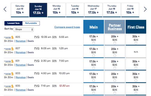 シンガポール航空のアラスカ航空マイル