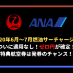 ANA・JAL燃油サーチャージ適用なし