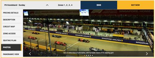 F1シンガポールグランプリチケット種類・料金・価格