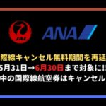 ANAJALキャンセル無料の延長国際線